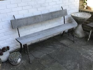 A French Late 19th Century Japanese Influenced Red Painted Wrought Iron Bench With Replace Oak Seat And Back Height 85 Cm Width 150cm Depth 40cm 1350