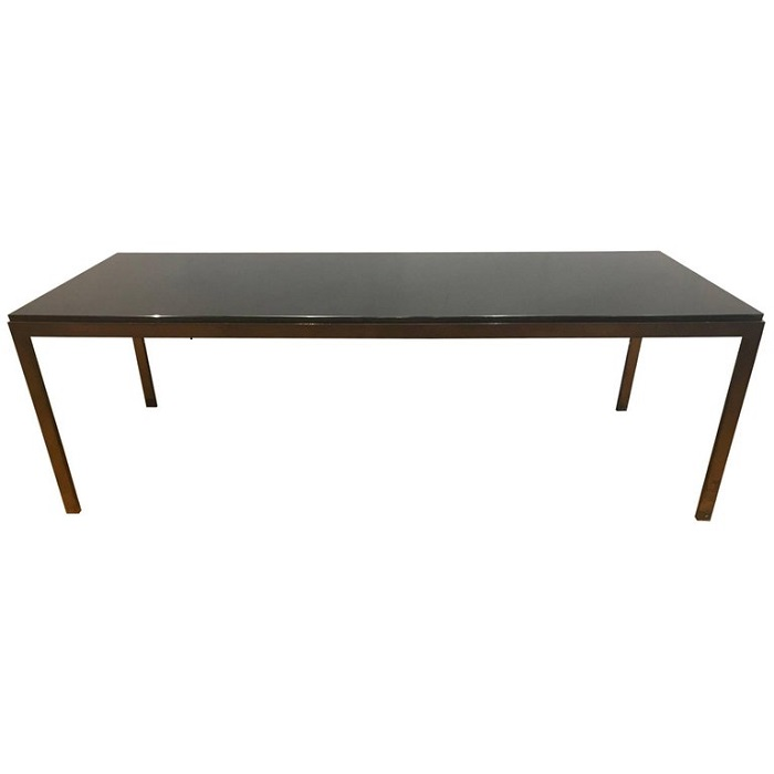 A Very Good Bronze And Black Metal Coffee Table With Black Glass Top.  French C.1950u0027s